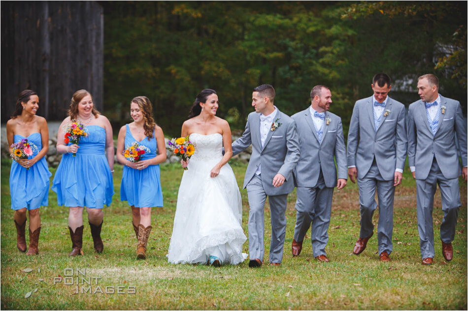 Candid Bridal Party Photograph at Dudley Farm in Guilford